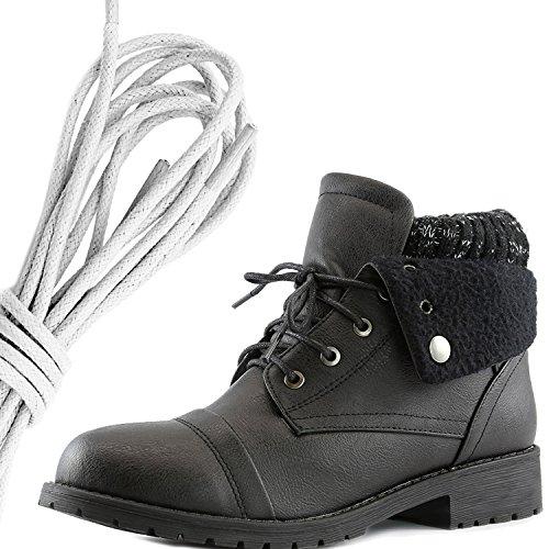 Dailyshoes Womens Boot Style Lace Up Maglione Stivaletto Alla Caviglia Con Taschino Per Porta Carte Di Credito Tasca Porta Monete, Avorio Nero Pu