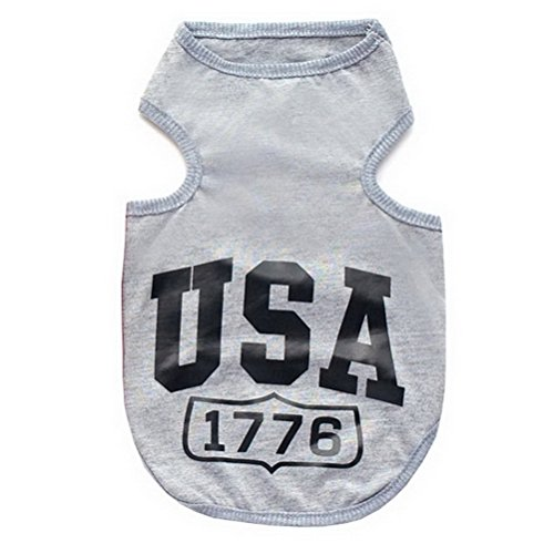Shih T-shirt Sweatshirt - ZUNEA Small Dog Tank Top Vest Cotton USA Pet Summer T-shirt Solid Color Printed Breathable Puppy Cat Beachwear Doggie Camp Shirt Gray S
