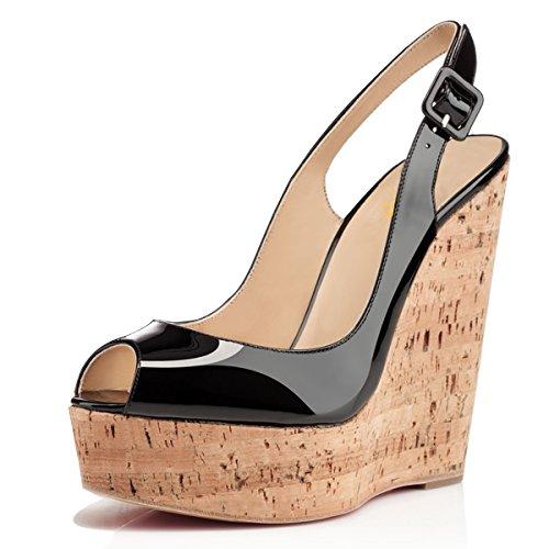 XYD Women Peep Toe Wedge Sandals Platorm Cork High Heel Slingback Slip On Dress Shoes Size 14 Black