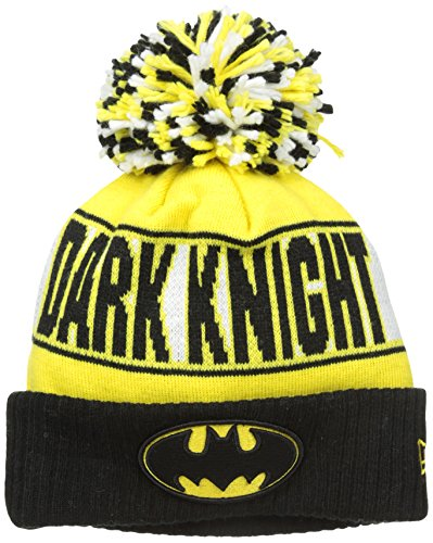 (New Era Cap Men's Batman Rep UR Team Knit Cap, Black/Yellow, One Size)