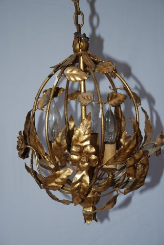 Retro Mid-Century Gold Flower and Leaf Chandelier Lamp 25