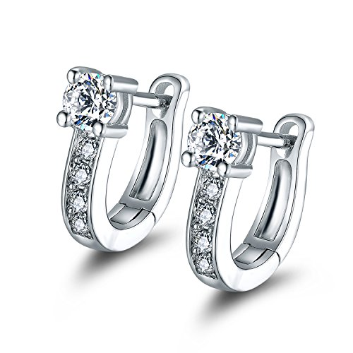 Barzel White Gold Plated Swarovski Elements Crystal Huggie-Hoop Earrings ()