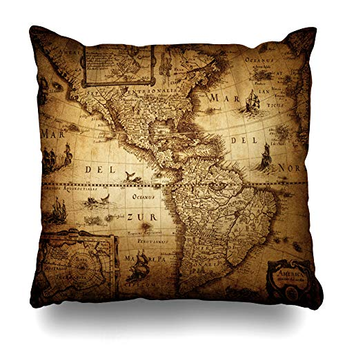 - NOWCustom Throw Pillow Cover Burned Old Map America Vintage Ancient Antique World Atlas Cartography Atlantic Zippered Pillowcase Square Size 20 x 20 Inches Home Decor Pillow Case