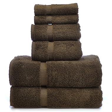 Luxury Hotel & Spa Towel 100% Genuine Turkish Cotton Bath Towel Bundle (Cocoa, 6-Piece Towel Set)