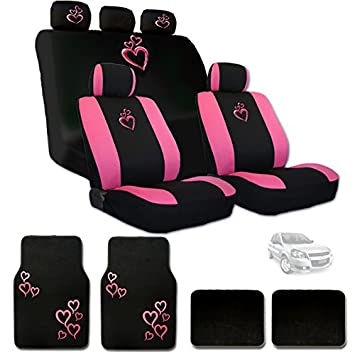 Large Pink Heart Car Seat Covers With Embroidery Logo Headrest And Floor Mats Gift Set