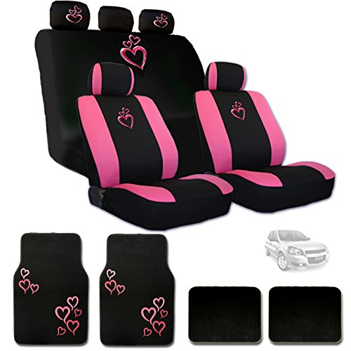 Large Pink Heart Car Seat Covers with Embroidery Logo Headrest Covers and Floor Mats Gift Set