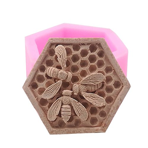 Monqui Bee Honeycomb Silicone Mold for Handmade Soap, Crafts, Candle, Chocolate, Muffins, Ice