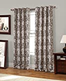 RT Designers Collection Spade Printed 53 x 84 in. Blackout Grommet Curtain Panel Pair, Coffee (Set of 2)