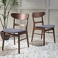 Christopher Knight Home 298967 Idalia Fabric/Walnut Finish Dining Chair (Set of 2), Dark Grey