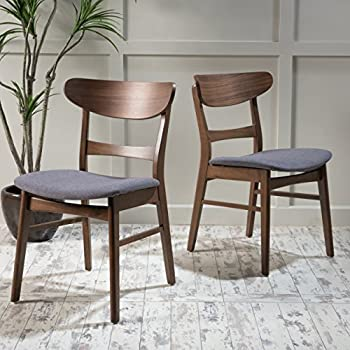 6d64b346f128 GDF Studio Helen Mid Century Modern Dining Chair (Set of 2) (Dark Grey  w Walnut Finish)