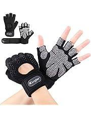 Kungber Fitnesshandschoenen trainingshandschoenen sporthandschoenen voor krachttraining, gewichtheffen, training, fietsen, bodybuilding voor dames heren (zwart, S-XL) (S)
