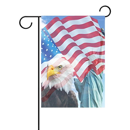 ALAZA Duble Sided Patriotic 4th of July Freedom Collage Eagles Statue of Liberty American Flag Polyester House Garden Flag Banner 28 x 40 Inch July 4th for Anniversary Family Garden Decor