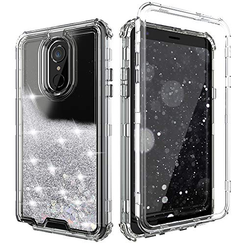 Case Hard Plastic Bling (QQcase LG Stylo 4 Case, LG Stylo 4 Plus Case, LG Q Stylus Case,Three Layer Hard Clear Glitter Sparkle 3D Flowing Liquid Heavy Duty Sturdy Shockproof Protective Bling Case for LG Stylo 4 Clear-Sliver)