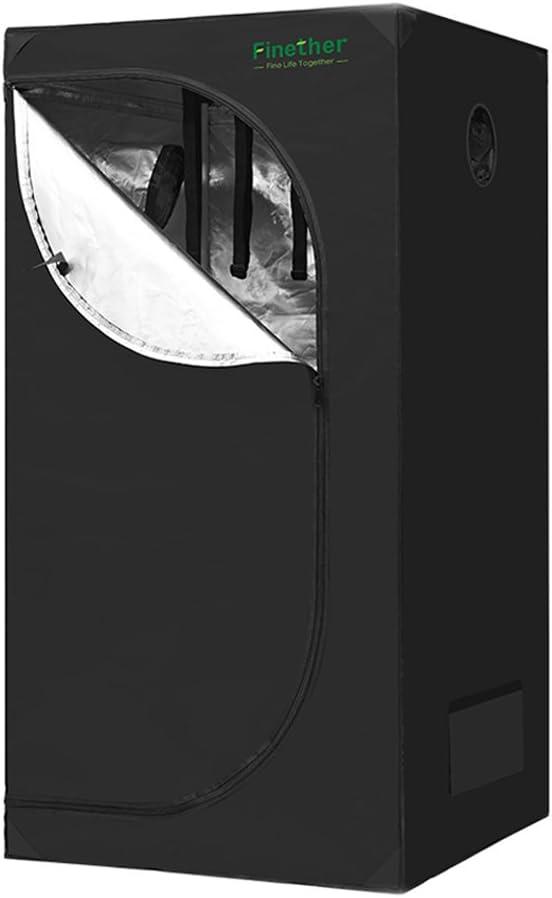 Finether Armario de Cultivo Interior 80x80x160 cm Grow Box Hidroponía para Jardín Resistente a la Luz e Impermeable Ideal para Plántulas, Frutas, Hierbas, Flores y Vegetales, Plantas Todo el Año Negro