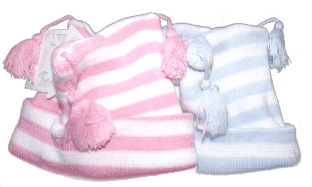 triple tassel hat Rock-A-Bye-Baby double layered 6-12 months, Pink and white stripes Available in blue and white stripes or pink and white stripes Age 0-12 months