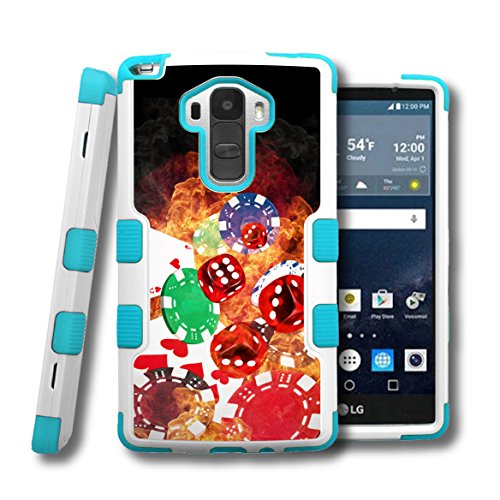LG G Stylo LS770 Case, CaseCreator[TM] NATURAL TUFF Hybrid Rubber Hard Snap-on Case For LG G Stylo LS770, Teal Blue White-Cards Dice Chips