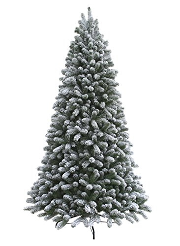 KING OF CHRISTMAS 7.5 Foot Pre-Lit King Flock Christmas Tree with 800 UL Warm White LED Lights