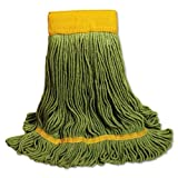 UNISAN EcoMop Looped-End Mop Head, Recycled Fibers, Large Size, Green, 12/Carton