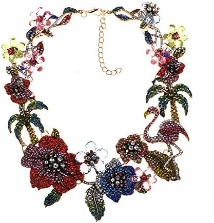 VECANCE Rhinestone Flamingo Statement Necklace