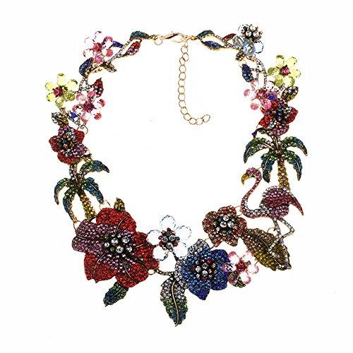 VECANCE Women Vintage Baroque Jewelry Crystal Rhinestone Flamingo Flowers Chunky Bib Statement Choker Necklace