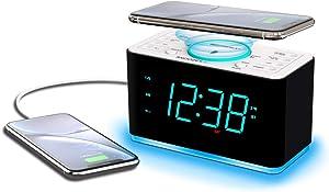 Emerson Radio ER100401 Smartset Alarm Clock Radio, 15Watt Ultra Fast Wireless Charging Dual Alarm Clock Radio with Bluetooth Speaker, USB Charger, Cyan LED Night Light and 1.4