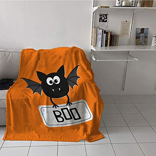 Khaki home Children's Blanket Cozy Flannel Print Digital Printing Blanket (35 by 60 Inch,Halloween,Cute Funny Bat with Plate Boo Fangs Scare Frighten Seasonal Cartoon Print,Orange Black White]()