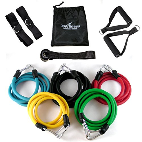 JS Fitness Resistance Band Set with Door Anchor, Ankle Strap, Handles, and Resistance Bands Carrying Case