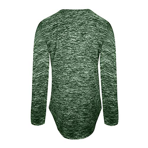 V Manche Casual Longue Tunique SANFASHION Col Mode Vert Vtement Zippe Blouse Shirt xwFRI0n1aq