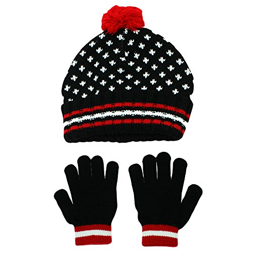 Nolan Boys Thermal Knit Beanie Cap and Glove Set Youth 4-16 Black Red – DiZiSports Store