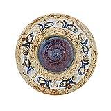 """Decorative Plate or Bowl, Handmade Ceramic & Porcelain, Blue Fish Design, Diam: 16cm (6.3"""")"""