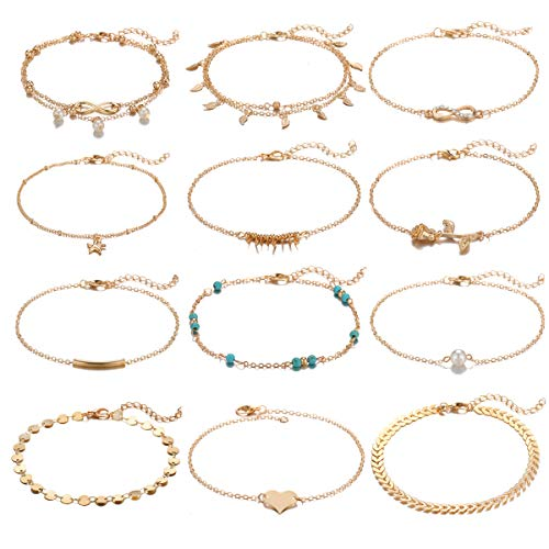 - Dremcoue 12 Pcs Gold Ankle Bracelet for Women Adjustable Chain Beach Anklet Set Summer Jewelry for Women