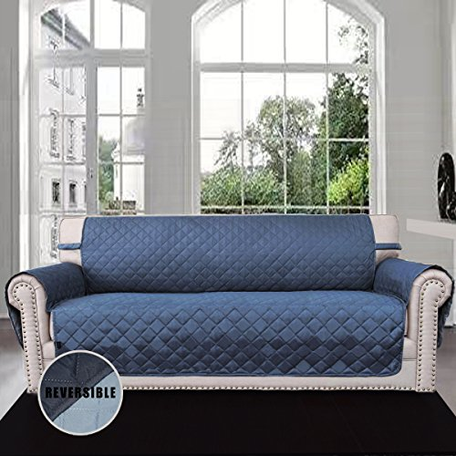 easy-going sofa covers,slipcovers,reversible quilted furniture protector,water resistant,improved couch shield with elastic straps,anti-slip foams,micro fabric pet cover sofa,dark blue/light blue