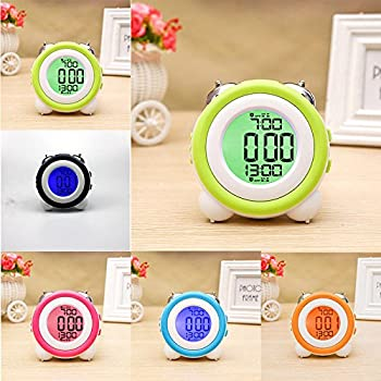 Zinnor Toddler Stay-In-Bed Light Clock, Simple LED Cute Mini Portable Alarm Clock - Teaches Child When Ok-to Wake Up + Kids Alarm & 4 Color Morning or Night-light (Orange)