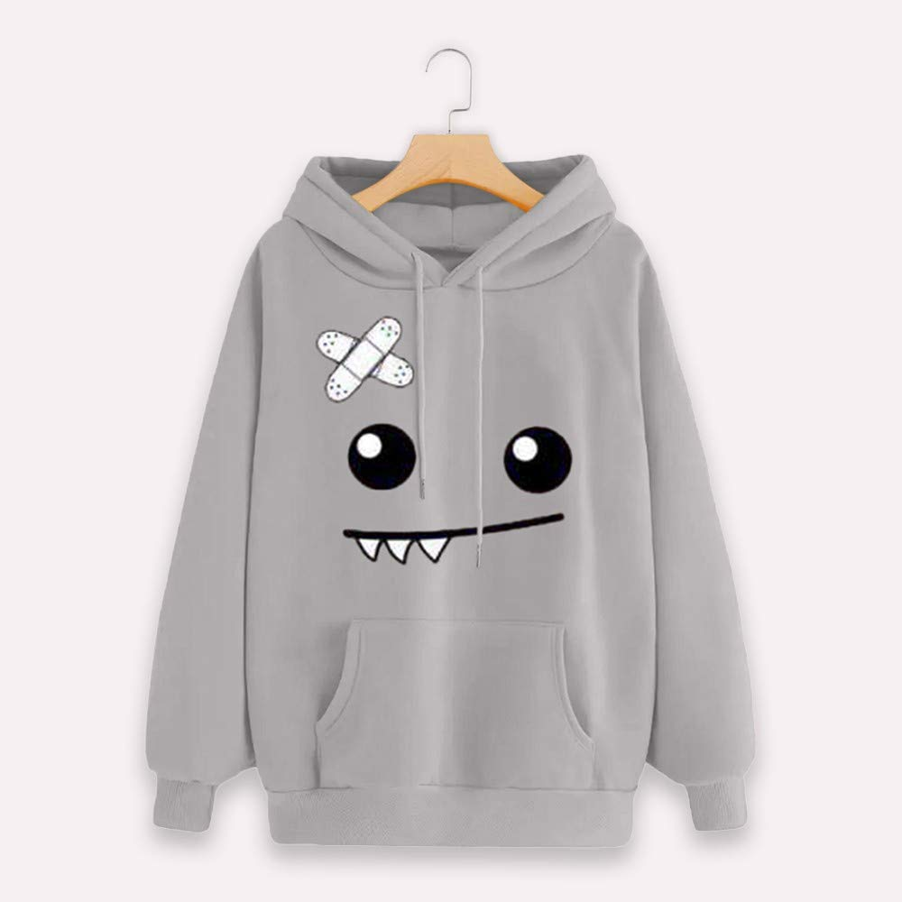 POTO Sweatshirt, Womens Emoticon Print Pocket Hoodies Sweatshirts Jumper Hooded Pullover Tops Blouse Shirt Sweater at Amazon Womens Clothing store: