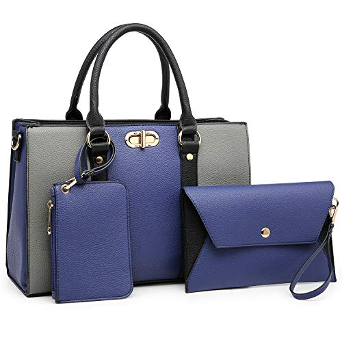 MMK Women handbags Top handle Satchel bags for Ladies Set Vegan Leather purse/wallet(3 pieces set) (8010-Blue/Grey)