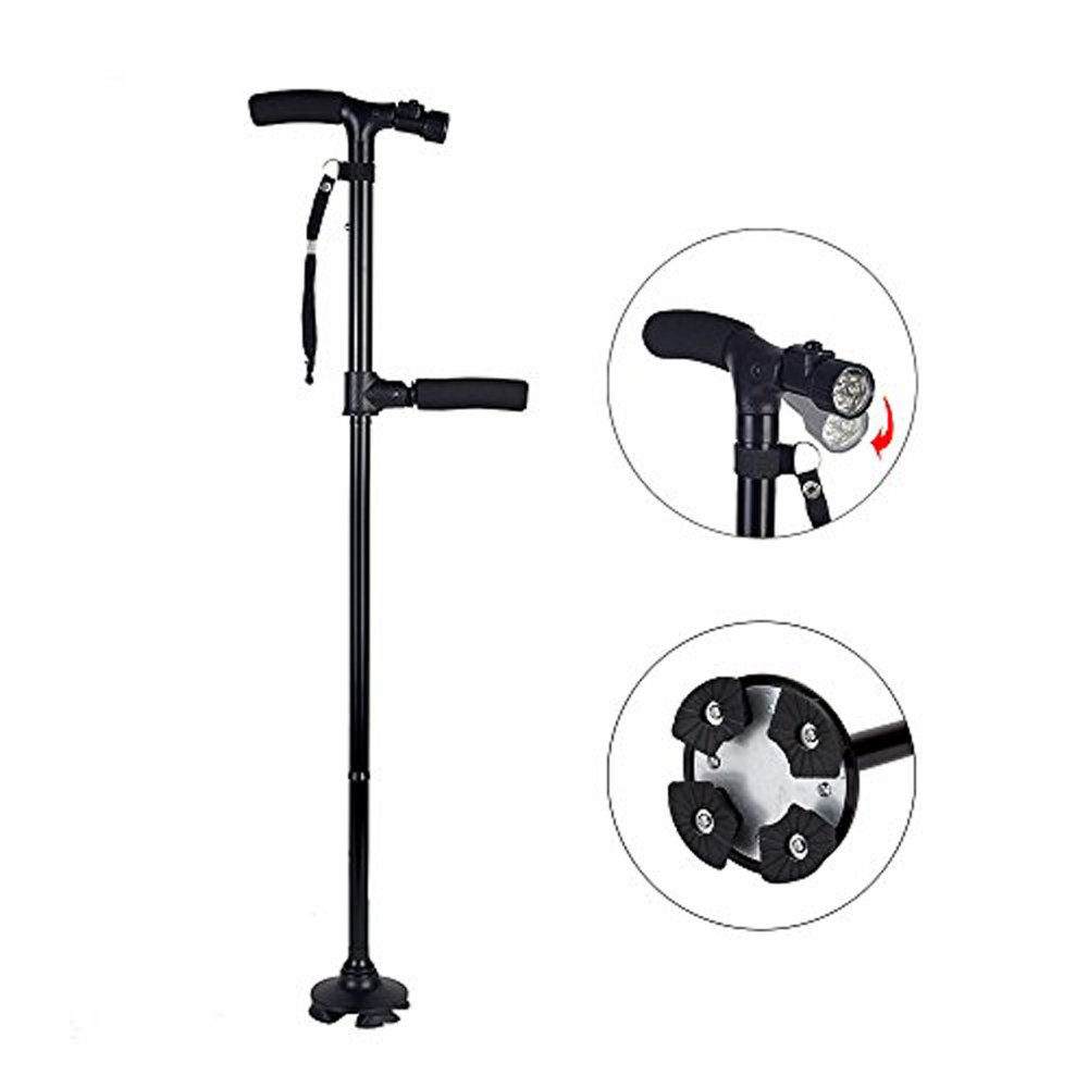 Beyoung LED Cane Walking Stick, Two-Handle Adjustable Height Folding Walking Stick Cane with Pivoting Quad Cane Base Tip for Men and Women