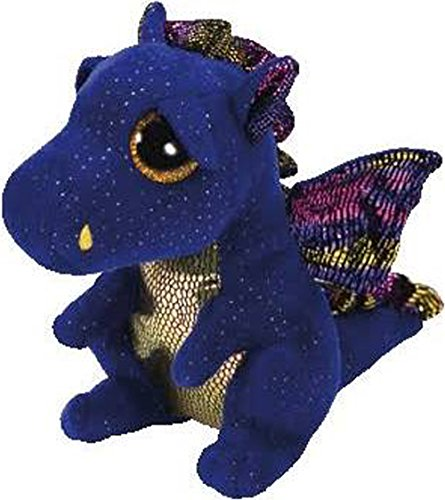 Ty Beanies Boos Beanie Boo Blue Dragon Saffire 6  Plush Soft Stuffed Animal Toy