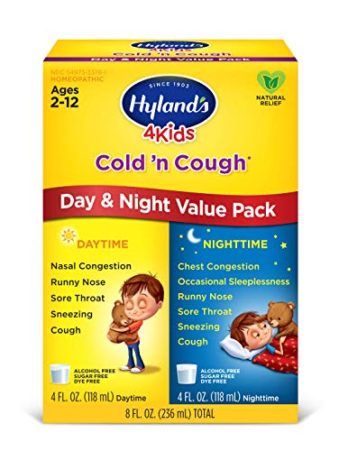 Hyland's 4 Kids Cold and Cough Day and Night Value Pack, Natural Common Cold Symptom Relief, 8 -