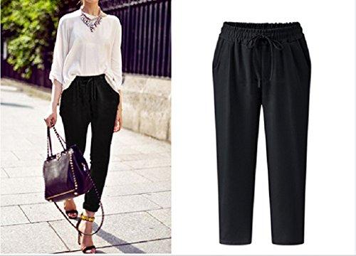 Vogue Uni Souple Longue Pantalon Bigood Lâche Harlan Noir Femme 6Cq6xg