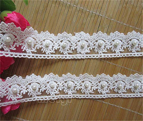 3 Yard Pearl Flower Cotton Crochet Lace Edge Trim Ribbon 1-1/2