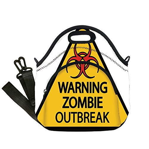 Insulated Lunch Bag,Neoprene Lunch Tote Bags,Zombie Decor,Warning Zombie Outbreak Sign Cemetery Infection Halloween Graphic Decorative,Earth Yellow Red Black,for Adults and children -