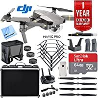 DJI Mavic Pro Platinum Quadcopter Drone with 1 Year Extended Warranty Plus Deluxe Accessories Bundle