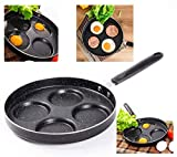 Professional Aluminum Non-Stick 4-Cup 9.5 inch Egg Pan - for Gas and Electric Stovetops - Egg Frying Pan
