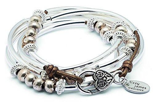Lizzy James Boho Long Silverplated Single Strand Metallic Bronze Leather Wrap Bracelet (Medium (6 1/4