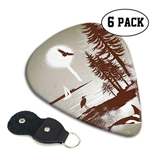 (Guitar Picks 6 pcs,Detailed Complex West Coast Scenery In Graffiti Style Isolated Nature Decor)
