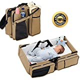 5 in 1 Crib with Changing Table Diaper Bags - By Boxum Baby - Stylish 3 in 1 Multi-Functional - Travel Diaper Bag - Portable Bassinet & Changing Pad Station - Essential For Mom & Perfect Baby Shower Gift for Newborn Boy Girl
