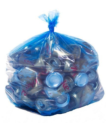 ToughBag, Blue Recycling Bags, 33x39, 33 Gal, 100/case, 1.2 Mil (Recycle Plastic Bags)