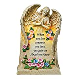 Collections Etc Angel Statue Memorial Garden Stone with Solar Light & Saying - Grave Marker, Sympathy Gift