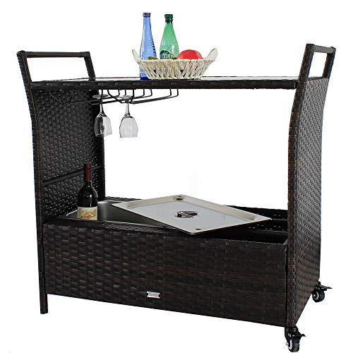 Patio Bar Carts for The Home Cart on Wheels with Wine Rack Patio Furniture Brown PE Rattan Portable Bar Serving Cart with Stainless Ice Bucket Buttom Storage Glass Top ()