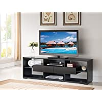70 TV Stand Home Entertainment Center Console Black Faux Croc